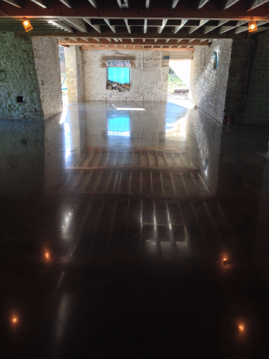 Polished power floated concrete floor installations Industrial