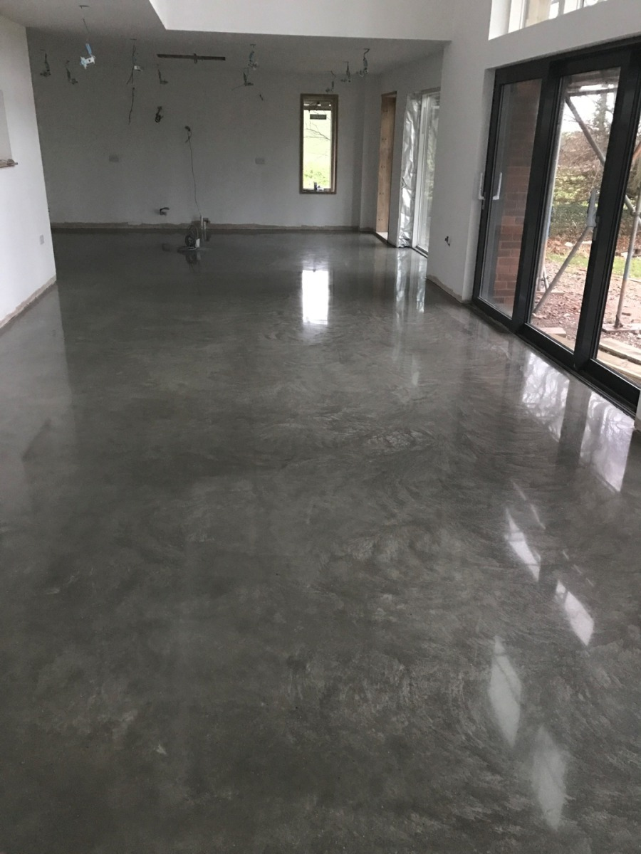Polished Floated Concrete Floor The Generally Retains Floating Swirl Marks With A High Finish Only 0 5 To 1mm Is Removed From
