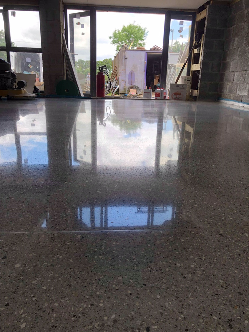 Polished concrete in Devon,Southwest,UK, grinding and